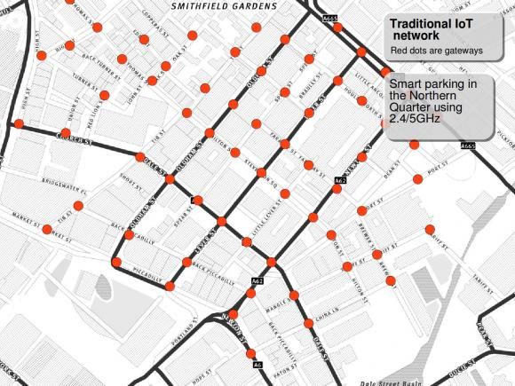red dots are access points for the Smart Parking in the Northern Quarter.