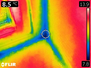 Thermal image of downstairs toilet window