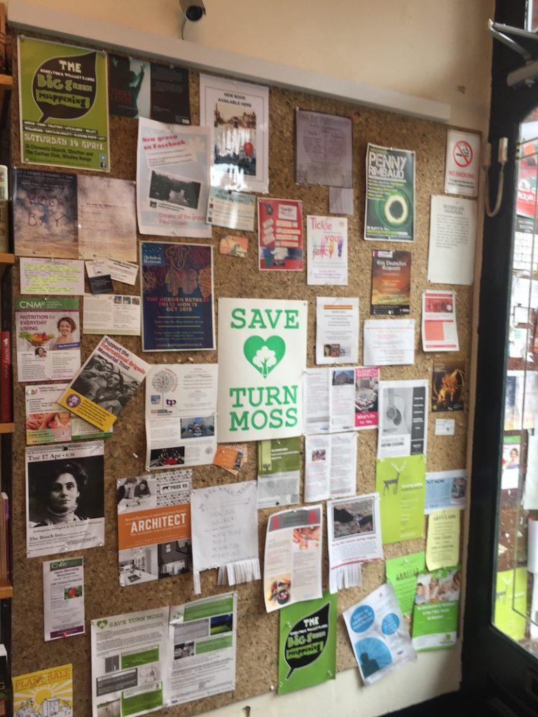 Bookshop noticeboard
